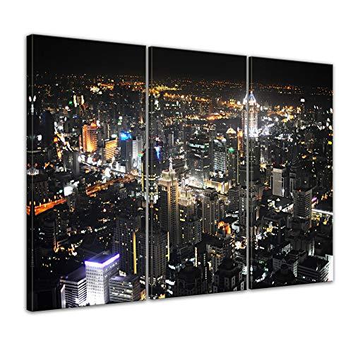 Kunstdruck - Bangkok at Night - Bild auf Leinwand - 150 x 90 cm 3tlg - Leinwandbilder - Bilder als Leinwanddruck - Städte & Kulturen - Asien - Skyline von Bangkok
