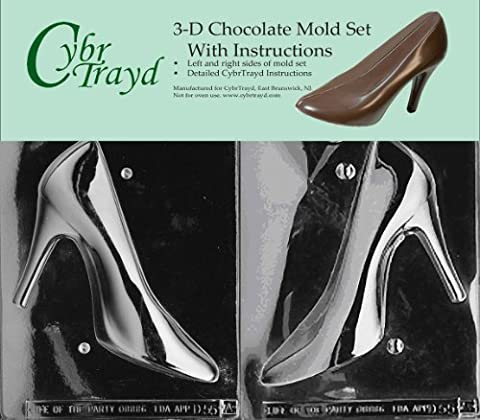 Cybrtrayd D055AB High Heel Shoe Chocolate Candy Mold Bundle with 2 Molds and Exclusive 3D Chocolate Molding Instructions