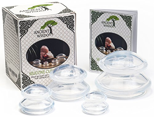 """Ancient Wisdom"" Silicone Cupping Therapy Set (4 Sizes) w/ Traveling Pouch & Manual. Chinese Cups Kit for Anti Cellulite, Detox, Myofascial Massage. Premium Quality BPA Free Silicone. for Body/Face"