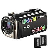 Videokamera, ACTITOP Camcorder HD 1080P 24MP 16X Digitalzoom Camcorder mit 3,0 Zoll TFT-LCD und 270-Grad-Bildschirm