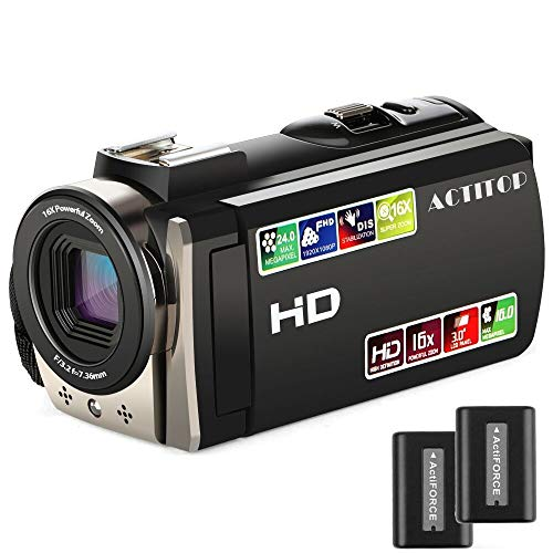 Video Camera, ACTITOP Camcorder HD 1080P 24MP 16X Digital Zoom Camcorder with 3.0 inches TFT-LCD and 270 Degree Rotation Screen