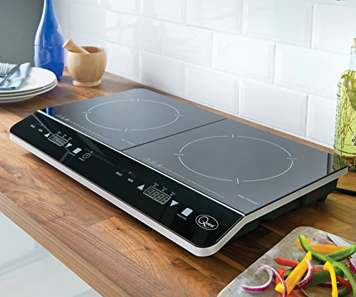 51cHLQMAWwL - Quest 35840 Digital Induction Hob Hot Plate with 10 Temperature Settings and Touch Control, Double, 2800 W, Black