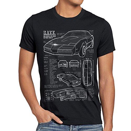 style3 K.I.T.T. Herren T-Shirt Blaupause Michael Knight 2000 Black Rider, Größe:M, Farbe:Schwarz