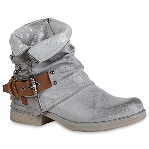 Stiefelparadies Damen Biker Boots Leder-Optik Stiefeletten Warm Gefütterte Booties Blockabsatz Winter Schuhe Winterboots Zipper Snake Print Flandell Grau Glitzer