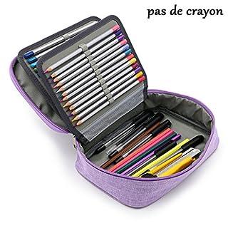Sumnacon Nouveau style 72 Trousse de Crayon Scolaire, Multi-fonctions et 4 Couches Démontables , Sangle et Grande Capacité, Pratique et Solide(violet)