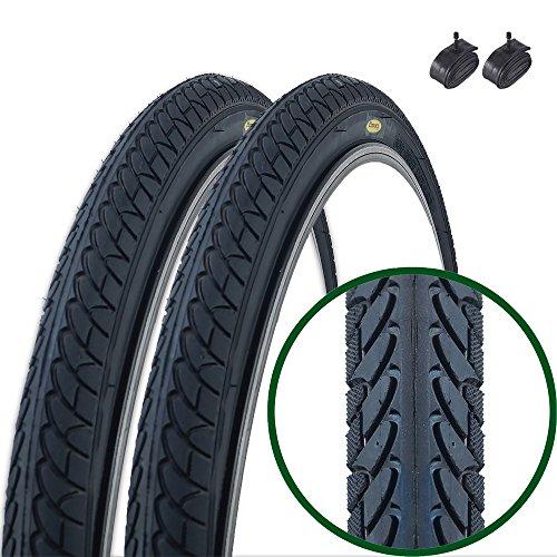 Fincci Paar Slick Road Mountain Hybrid Bike Fahrrad Reifen 26 x 2,10 56-559 und Schrader Innen 48 mm