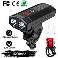 WAKYME Bike Light Set, 5200mAh USB Rechargeable Bicycle Light with Power Bank Function & Intelligent LED Display Headlight Taillight Combinations LED Road Cycling Commuter Flashlight
