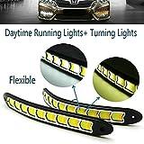 heinmo 2x LED Tagfahrlicht DRL Nebel Lampe, wasserdicht, mit Blinker LED Birnen Weiß + Gelb