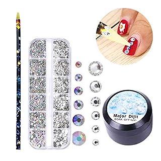 Nagelkunst mit Strasssteinen, 3D-Dekoration, Glitzersteine für Nägel, 6 Größen und Picker Stift und Gel-1 Set