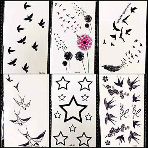 DIY Black Flying Birds Temporäre Tätowierung Bunte Löwenzahn Aufkleber Mädchen Gesicht Party Tattoo Jungen Hände Sterne Gefälschte Tatoos Make-Up 10,5X6 cm -