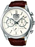 Casio Edifice Men's Quartz Watch with White Dial Analogue Display and Brown Leather Strap EFB-502L-7AVER
