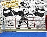 SUNNYBZ Wallpaper Murale 3D Carta da Parati Palestra Muro di Mattoni Muscolo Sport Fitness Club Immagine Carta da Parati Carta da Parati Murale Grande Senza Soluzione di continuità @ 400 * 280 Cm