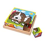 Small Foot by Legler Würfelpuzzle Haustiere aus Holz, mit 6 verschiedenen Motiven, 16 Holzwürfel in für Kinderhände perfekter Größe, im praktischen Holzrahmen, für...