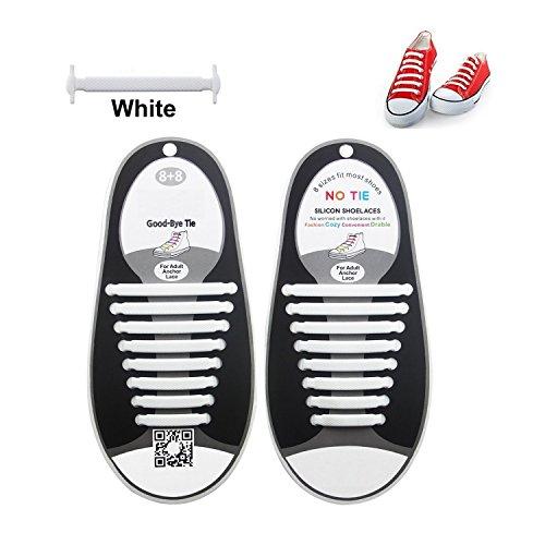Unisex Women Men No Tie Shoelaces Elastic Silicone Shoe Laces Fit All Sneakers (Color White) - 16PCS/Set