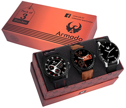 Armado Combo of 3 Analogue Black Dial Mens Watches-Ar-516193