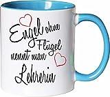 Mister Merchandise Becher Tasse Engel Ohne Flügel Nennt Man Lehrerin Kaffee Kaffeetasse liebevoll Bedruckt Beruf Job Geschenk Weiß-Hellblau