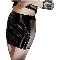 Sexy Mujer Minifalda de barniz con insertos de malla y transparentes cremallera S–XL Negro Black niveles