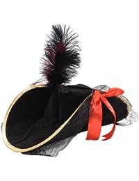 Deguisement Chapeau de Pirates des caraibes pour femme noir avec bande doree et Plumes