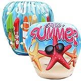 Hougood Baby Swim Diaper Schwimmwindel 2Pcs Kleinkinder Justierbare Schwimmen Windel Schwimmen Kurze Hosen Wiederverwendbare Waschbare Auslaufende Schwimmshorts Alter 0-3 Jahre Alt
