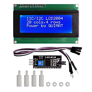 Quimat IIC I2C TWI Serial 2004 20x4 LCD Screen Display Bildschirm Module Shield Kompatibel Entwicklungsbrett Blau Licht for Arduino Uno R3 Mega 2560 Hauptplatine mit 4 PIN Jump Wires Kable QK51