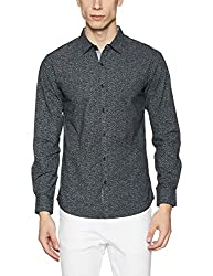 Spykar Mens Printed Slim Fit Cotton Casual Shirt (MSH210 FP02AF_Black_Medium)