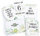 42 x Baby Milestone Cards with Gift Box by Monday Moon®   Baby Shower Unisex Boy Girl Photo Keepsake Memory Landmark Moment Boho Gender Neutral
