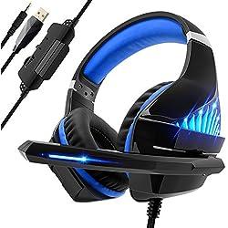 Beexcellent Casque Gaming pour PS4 PC Xbox One, Casque Gamer avec Micro Audio Stéréo Bass pour Jeux vidéo Mac NS PSP