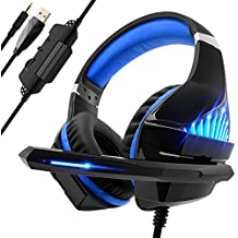 beexc cocido Gaming Headset para PS4PC Xbox One, LED luz Bass Sourround comfo rtbale Gaming Auriculares con micrófono para Mac NS PSP Tablet