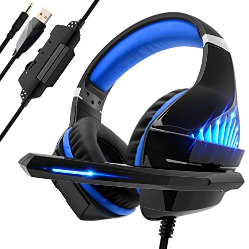 Beexcellent Gaming Headset für PS4 PC Xbox One, LED Licht Bass Sourround Comfortbale Kopfhörer mit Mikrofon für Mac Tablet