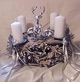 Weihnachten Adventskranz ca 43cm Kranz Naturkranz mit Hirsch silber 4 weiße Kerzen zzgl. 2 Ersatzkerzen IW18
