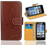 Microsoft Lumia 640 / 640 Dual SIM Handy Tasche, FoneExpert® Wallet Case Flip Cover Hüllen Etui Ledertasche Lederhülle Premium Schutzhülle für Microsoft Lumia 640 / 640 Dual SIM (Braun)