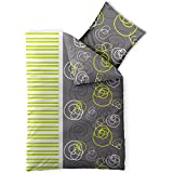 3 teilige CelinaTex Sommer-Bettwäsche | 100% Baumwolle Seersucker Marken Qualität | 200 x 220 cm Serie Enjoy 3-tlg. | Design Andrea grau weiß grün Muster