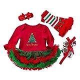 Yukeyy il Mio Primo Natale Set Da 4 Pezzi Bebè Bambina Romper Gonna e Fascia e Scarpa e Legwarmer