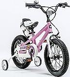 Royal Baby Freestyle Kinderfahrrad mit Stützrädern, Grössen 12, 14, 16, 18 Zoll, Rot, Blau, Grün, Orange, Weiß, inkl. Wasserflasche und Halterung, rose