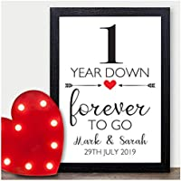 One Year Down Forever To Go Personalised Wedding Anniversary Gifts for Him, Her - 1st, 10th, 25th, 30th, 40th, 50th Wedding Anniversary Gift Presents - Gifts for Husband, Wife, Boyfriend, Girlfriend