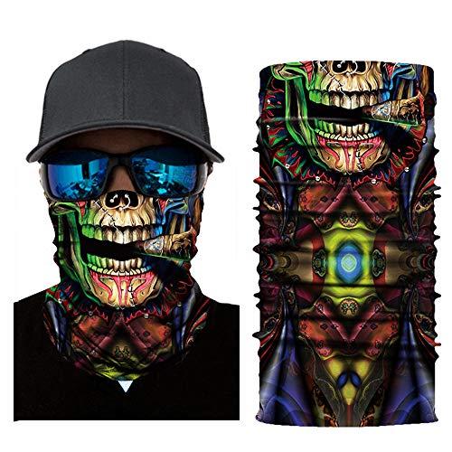 MMLC Fishing Face Shields Multifunktionstuch Totenkopf Maske Clown Halstuch Halloween Kostüme Motorrad Ski Jagen Fahrrad (D) (Shield Maske)