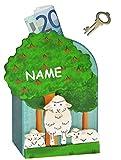 3-D Spardose Schaf aus Holz - incl. Wunschname - mit Schlüssel - stabile Sparbüchse Sparschwein für Kinder - Holzspardose Schäfchen