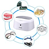 GT SONIC 600ml Ultraschallreiniger Ultraschallreinigungsgerät Brille Ultraschallbad Ultrasonic Cleaner für Brillen Zahnersatz Ultraschall Reiniger mit Edelstahlwassertank Uhrenhalter und Korb