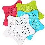 Trixes Abflusssiebe x4 Stück Farbige sternförmige Abflusssiebe aus Silikon für Waschbecken Spüle Bad Dusche Etc. grün weiß Blau Rosa Seestern