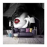 YUANLINGWEI Benutzerdefinierte Wandbild Tapete Schwarz Und Weiß Kontrast Farbe Rote Lippen Modernen Minimalistischen Mode Tv Sofa Hintergrund 3D Wallpaper,130cm (H) X 210cm (W)