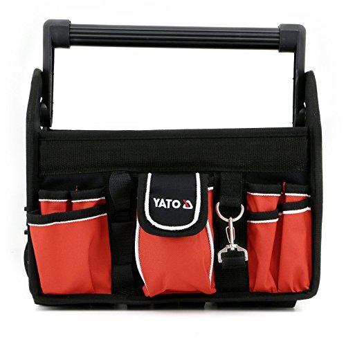 Yato Werkzeugtasche mit 17 Fächern 33,5 x 21 x 28 cm offen Aluminiumgriff rot/schwarz groß leer
