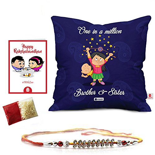 Rakshabandhan Rakhi Gifts Hamper Designer Crystal Studded Rakhi for Brother with Roli Chawal & Happy Rakshabandhan Greeting Card One in Million Brother Sister Blue Printed 12x12 Cushion with Filler Perfect Rakhi Gift Combo for Brother Bhaiya (Rakhi for Rakshabandhan, Rakhi Gifts for Brother, Rakhi)
