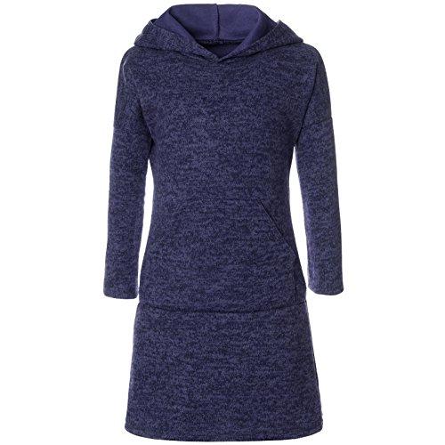 BEZLIT Mädchen Pullover Kleid Long Tunika Langarm Kapuze 21579, Farbe:Blau, Größe:128 (Kapuzen-langarm-tunika)