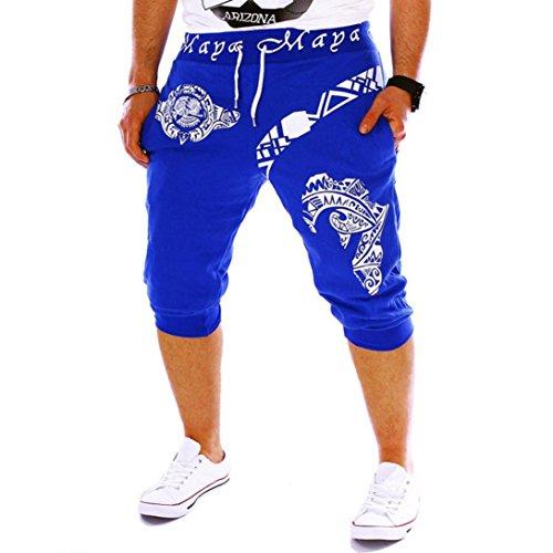SANFASHION Mode jogginghose Herren Shorts Kordelzug Elastische Taille Druck Lose Sport Hosen (Herren-elastische Taille Shorts)