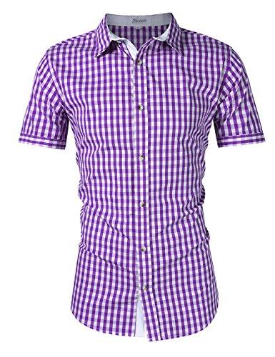 KoJooin Trachten Herren Hemd Trachtenhemd Langarmhemd Freizeithemd Baumwolle - für Oktoberfest, Business, Freizeit (XL / 40, Lila1)