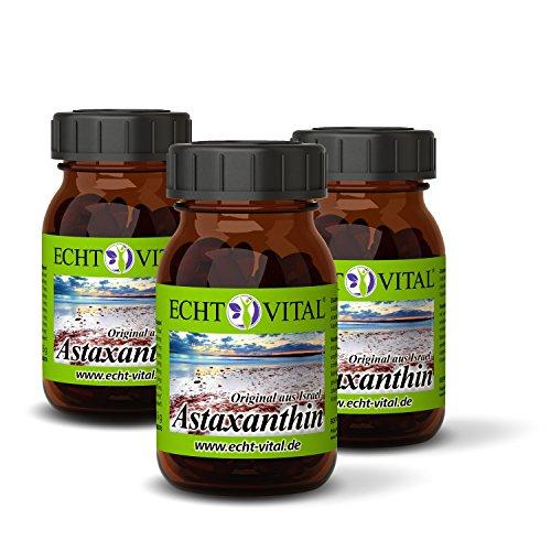 Echt Vital Astaxanthin - 4 mg / Softgelkapsel - 3 Gläser mit jeweils 120 Softgelkapseln / 100 % natürliches Extrakt aus der Grünalge Haematococcus pluvialis