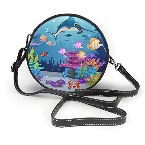 Wrution Marine Habitats Korallenriff, Anemonen, Fisch und Marlin Fisch personalisierbar, rund, mit Reißverschluss, Schultertasche, weiches Leder -