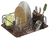 mDesign Compact Draining Rack - Sink Dish Rack With Cutlery Basket and Plastic Drip Tray - Cutlery, Glasses and Cups Can Dry Easily - Bronze