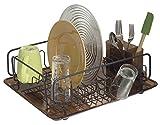 mDesign Escurreplatos con bandeja y escurrecubiertos – Escurridor de vajilla de gran capacidad – Secado rápido de platos, vasos, tazas , cubiertos y utensilios de cocina – Bronce