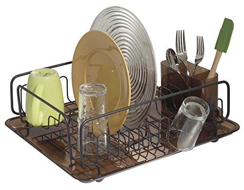 mDesign Escurreplatos con bandeja y escurrecubiertos - Escurridor de vajilla de gran capacidad - Secado rápido de platos, vasos, tazas, cubiertos y utensilios de cocina - Bronce